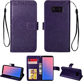 Galaxy S8 Plus Case, Folice Mandala Flower Pattern [Shock Absorbent] PU Leather Kickstand Wallet Cover Durable Flip Case for Samsung Galaxy S8 Plus (Violet)