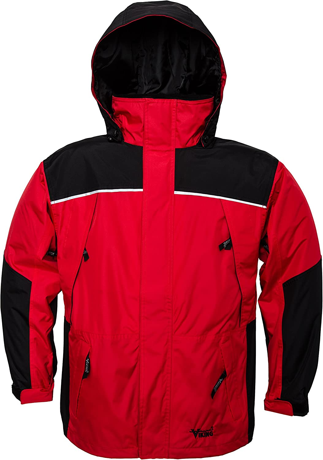 Viking Men's Tempest Classic Waterproof Rain Jacket, Red Charcoal, XXLarge