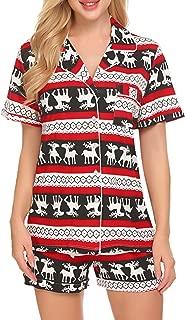 Pajamas Set Short Sleeve Sleepwear Womens Button Down...