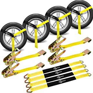 Trekassy Wheel Net Car Tie Down Straps Heavy Duty 4 Pack for Trailers with 4 Axle Straps and 4 Ratchet with Flat Hooks