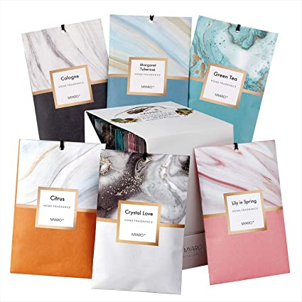 MYARO 12 Packs Scented Sachets for Drawer and Closet, Long-Lasting Sachets Bags Home Perfume Sachet 6 Scents Option- Lily in Spring, Green Tea, Citrus, Crystal Love, Margaret Tuberose, Cologne