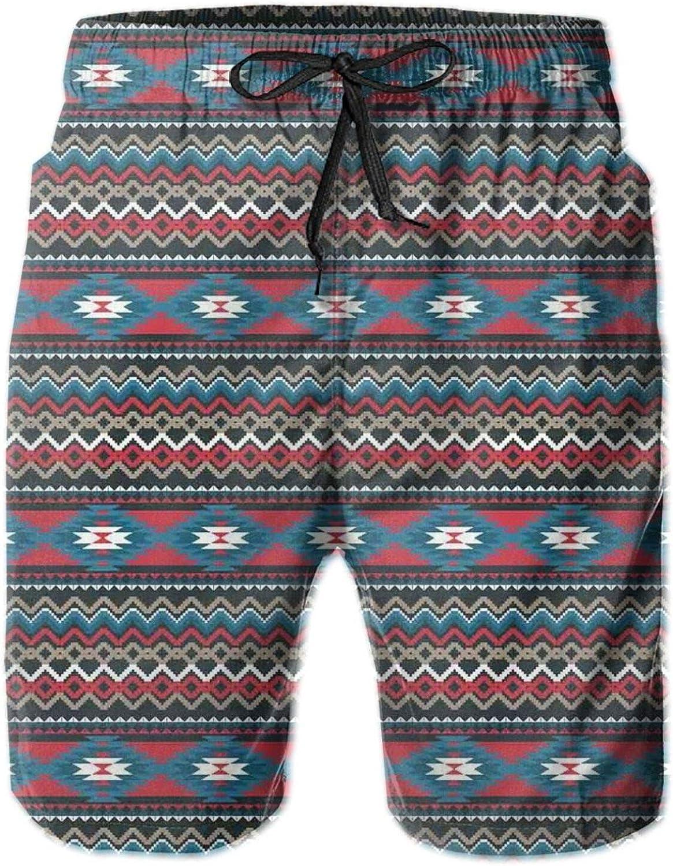 Primitive Style Aztec Folkloric Striped Design Antique Maya Patterns Printed Beach Shorts for Men Swim Trucks Mesh Lining,L