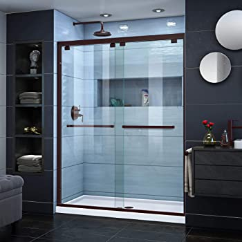 DreamLine Encore 56-60 in. W x 76 in. H Semi-Frameless Bypass Shower Door in Oil Rubbed Bronze, SHDR-1660760-06