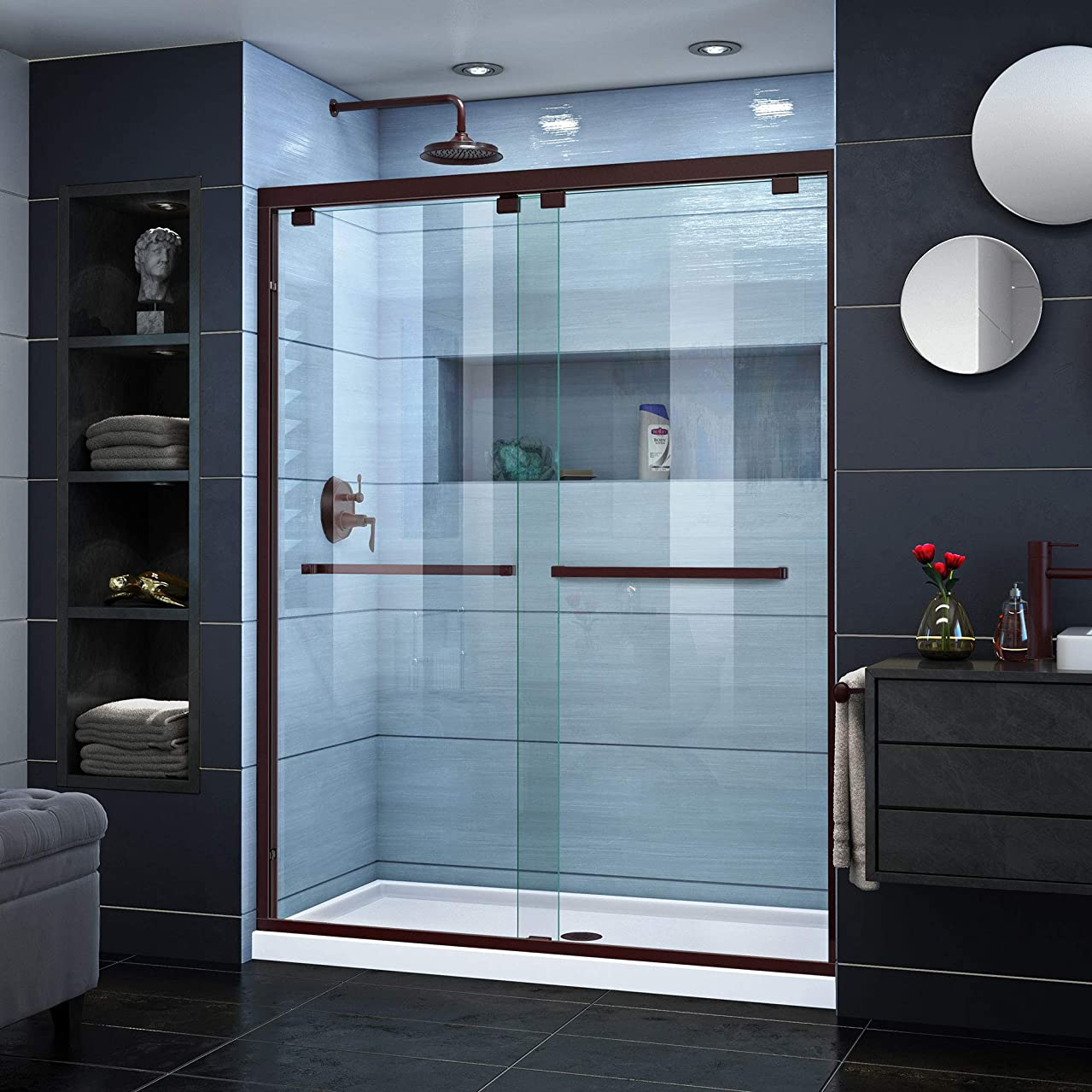 DreamLine Encore 56-60 in. W x 76 in. H Frameless Semi-Frameless Bypass Shower Door in Oil Rubbed Bronze, SHDR-1660760-06