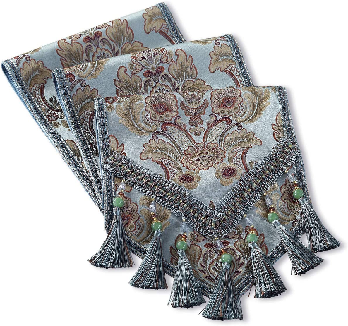 kilofly Elegant Floral Brocade Ranking TOP6 Jacquard Runner Tassels Cheap mail order specialty store 96 Table
