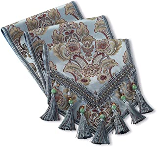 kilofly Elegant Floral Brocade Jacquard Table Runner Tassels (106 x 12 inches)