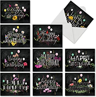 10 Blank 'Chalk and Roses' Boxed Birthday Cards with Envelopes 4 x 5.12 inch - Assortment of Note Cards w/Happy Bday Greetings for Kids, Adults - Notecard Stationery M6479BDB