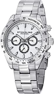 Stuhrling Original Men's 564.01 Concorso Raceway Swiss Quartz Tachymeter Day and Date Stainless Steel Bracelet Watch