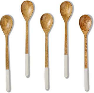 Folkulture Wooden Spoons for Cooking or Eating Soup or Rice, Mango Wood Mini Spoons for Korean or Japanese Meals, Small Wo...