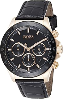 Hugo Boss Mens Quartz Watch, Chronograph Display and Leather Strap 1513753