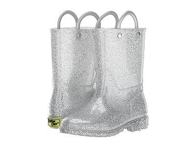 Western Chief Kids Glitter Rain Boots (Toddler/Little Kid) (Silver) Girls Shoes