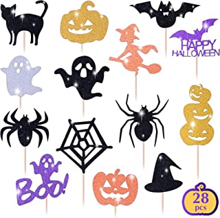 Get Fresh Halloween Cupcake Toppers Set, 28pcs Sparkly Set, Bat Witch Ghost Star, Baby Shower Food Picks Decor, Cupcake Halloween Party Picks, Halloween Cupcake Decorations