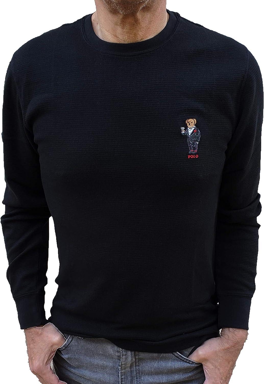 Polo Ralph Lauren Men's Waffle Knit Crew Neck Thermal Sleepware Shirt with Polo Bear Logo