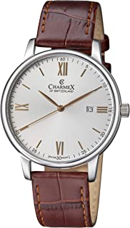 Charmex Men's 'Amalfi' Brown Leather Band 42mm Stainless Steel Case Swiss Quartz Watch