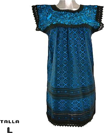 Vestido Telar -AZUL TURQUESA-. Bordado a mano con hilo de seda color azul