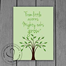 'From Little Acorns Mighty Oaks Grow' Illustrative Quote PRINT. Available in 2 Sizes. Makes The Perfect Gift! Inspiring Quote Print.