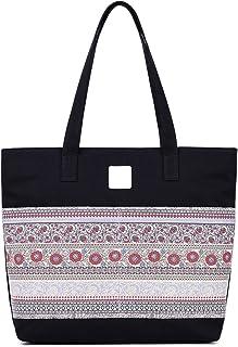ArcEnCiel Damen Beiläufige Segeltuch-Tasche Schultertasche Reisetasche Einheitsgröße Schwarz
