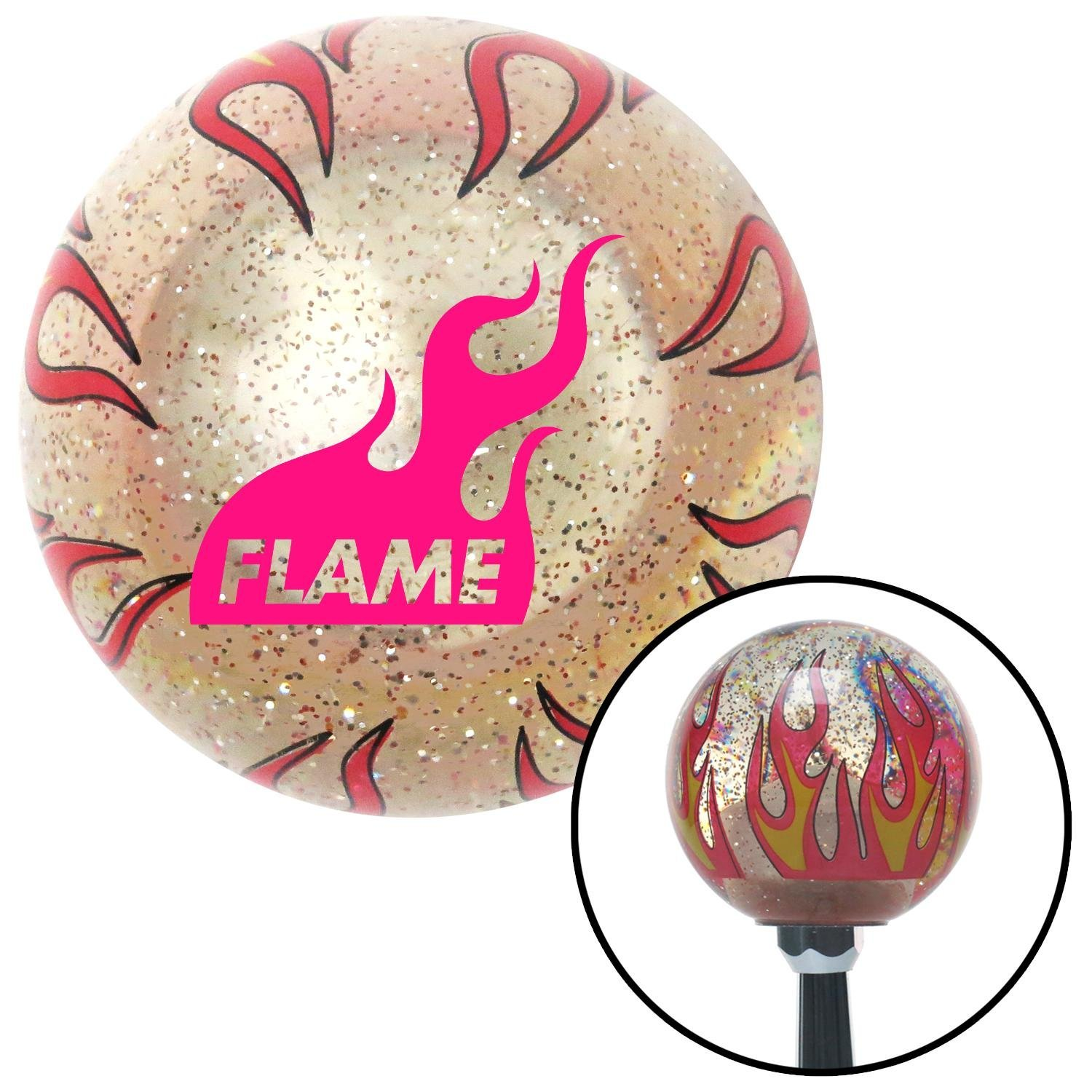 American Shifter 266288 Green Flame Metal Flake Shift Knob with M16 x 1.5 Insert Pink Sergeant Major