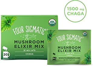Four Sigmatic Chaga Mushroom Elixir - USDA Organic Chaga Mushroom Powder - Wellness, Immunity - Vegan, Paleo - 20 Count