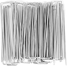 J-Chen 100 Pack 6 Inch 11 Gauge Galvanized Landscape Staples, Garden Stakes Ground U Shaped Landscape Pins for Secure Lawn...