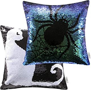 Ashler Halloween Set of 2 Magic Reversible Sequin Mermaid Throw Pillow Covers Spider and Cat for Haunted House Decoration 18 x 18 Inches 45 cm x 45 cm