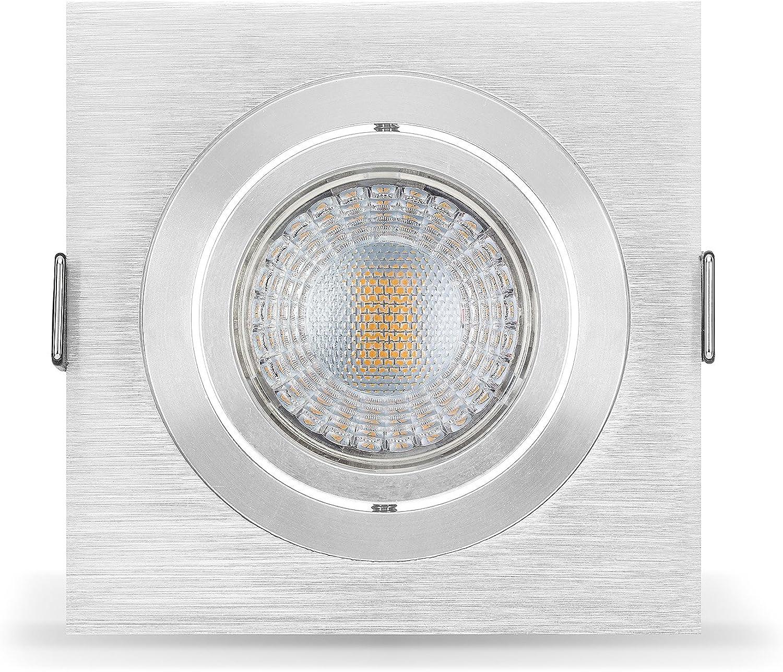 5 x LED Einbaustrahler Set von LEDOX dimmbar & schwenkbar inkl. Einbaurahmen 230V 7W warmwei GU10 (5er Set 3000K)