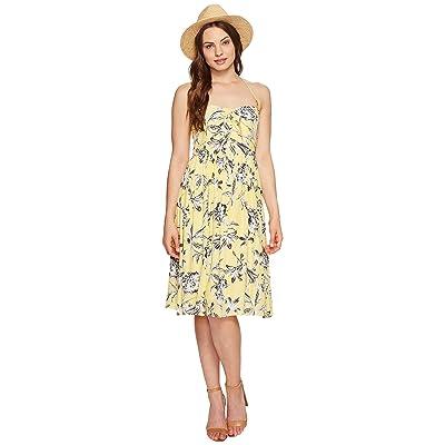BB Dakota Joss Printed Front Tie Dress (Yellow) Women