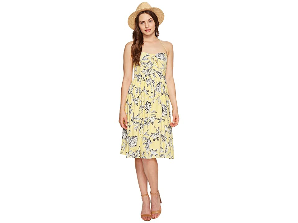 BB Dakota Joss Printed Front Tie Dress (Yellow) Women