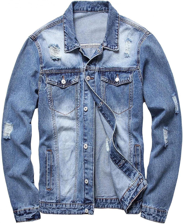 Men's Classic Denim Trucker Jacket Casual Ripped Slim Jean Jacket Long Sleeve Distressed Washed Coat Outwear