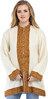 Exotic India Beige and Brown Long Kashmiri Jacket With Ari Hand-Embroidered Pais