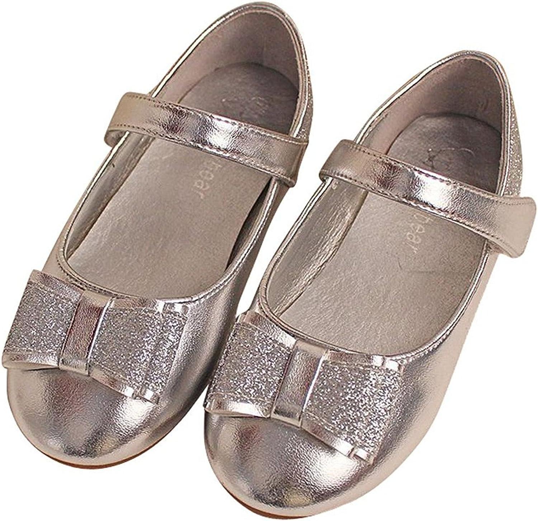 Labaqiangj Little Girls Leatherette Velcro Mary Jane Bow Flat (Toddler Little Kid)