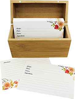 The Splendid Chef Recipe Set   Sturdy Bamboo Recipe Box with 20 Dividers and 100, 4x6 Recipe Cards