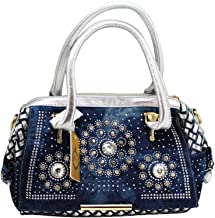d'Orcia Rhinestone Bedazzled Denim and Faux Leather Ladies Purse