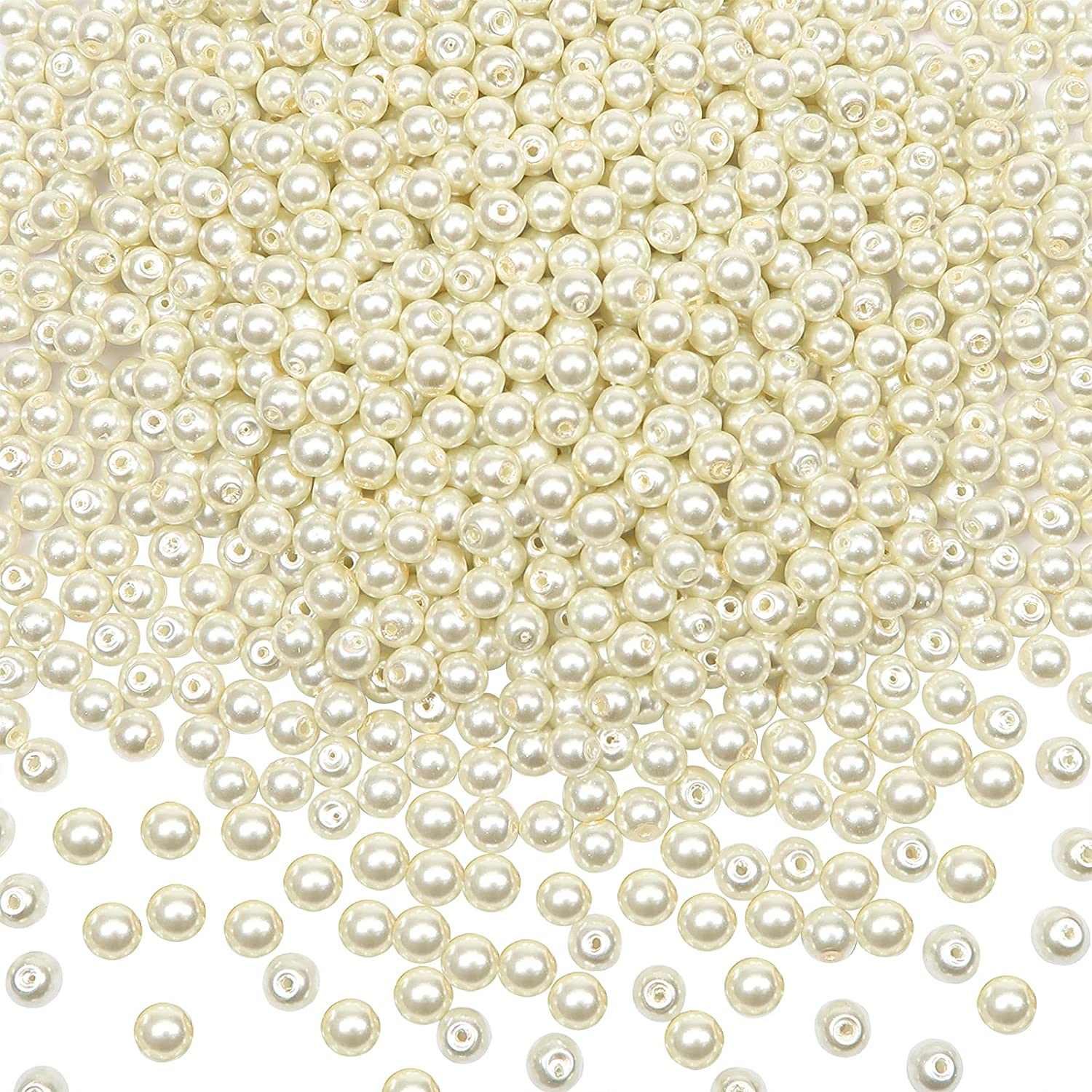 TOAOB 1000pcs Glass Pearl Beads Ivory 6mm Selling and selling with White Mail order