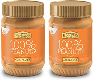 Crazy Richard's All Natural Crunchy Peanut Butter 16 oz Jar 100% Peanuts No added Sugar, Salt, or Palm Oil (Crunchy Peanut Butter, 2 jars)
