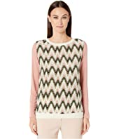 M Missoni - Long Sleeve Jersey Top with Silk Front Panel