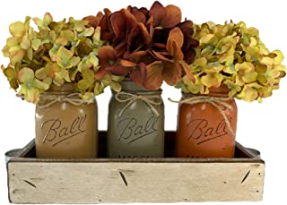 FALL Mason Canning JARS in Wood Antique White Tray Centerpiece with 3 Ball Pint Jar - Kitchen Table Decor - Distressed Rus...