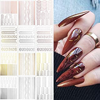 EBANKU 12 Sheets Gold Silver Metal Nail Stickers, Metallic Curve Strip Line Nail Decal Self-Adhesive 3D Wave Design DIY De...