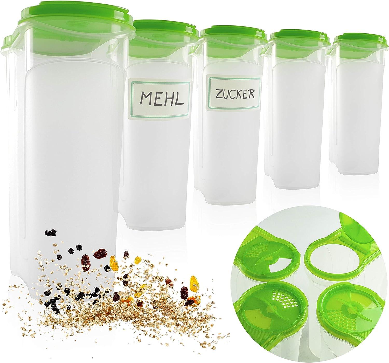 Mehl gro/ße Dosen mit Klappdeckel Zucker 5 x 2,4 Liter 5 x 2,4L. Hausfelder gro/ßes Sch/üttdosen Vorratsdosen Set Aufbewahrung und Spender f/ür z.B M/üsli