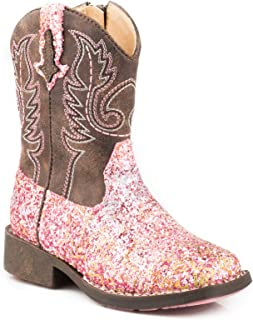 ROPER Girls' Glitter Aztec Western Boot Square Toe