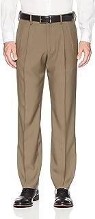 Men's Standard Expandable Waist Classic-Fit Pleated Dress Pants
