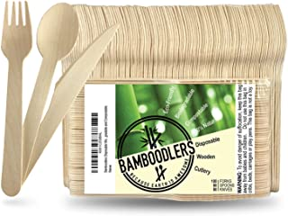 BAMBOODLERS Disposable Wooden Cutlery Set | 100% All-Natural, Eco-Friendly, Biodegradable, and Compostable ...