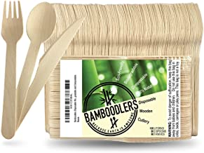 BAMBOODLERS Disposable Wooden Cutlery Set   100% All-Natural, Eco-Friendly, Biodegradable, and Compostable - Because Earth...