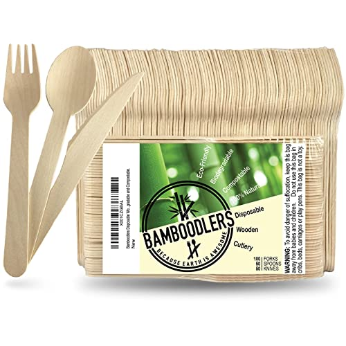 """BAMBOODLERS Disposable Wooden Cutlery Set 