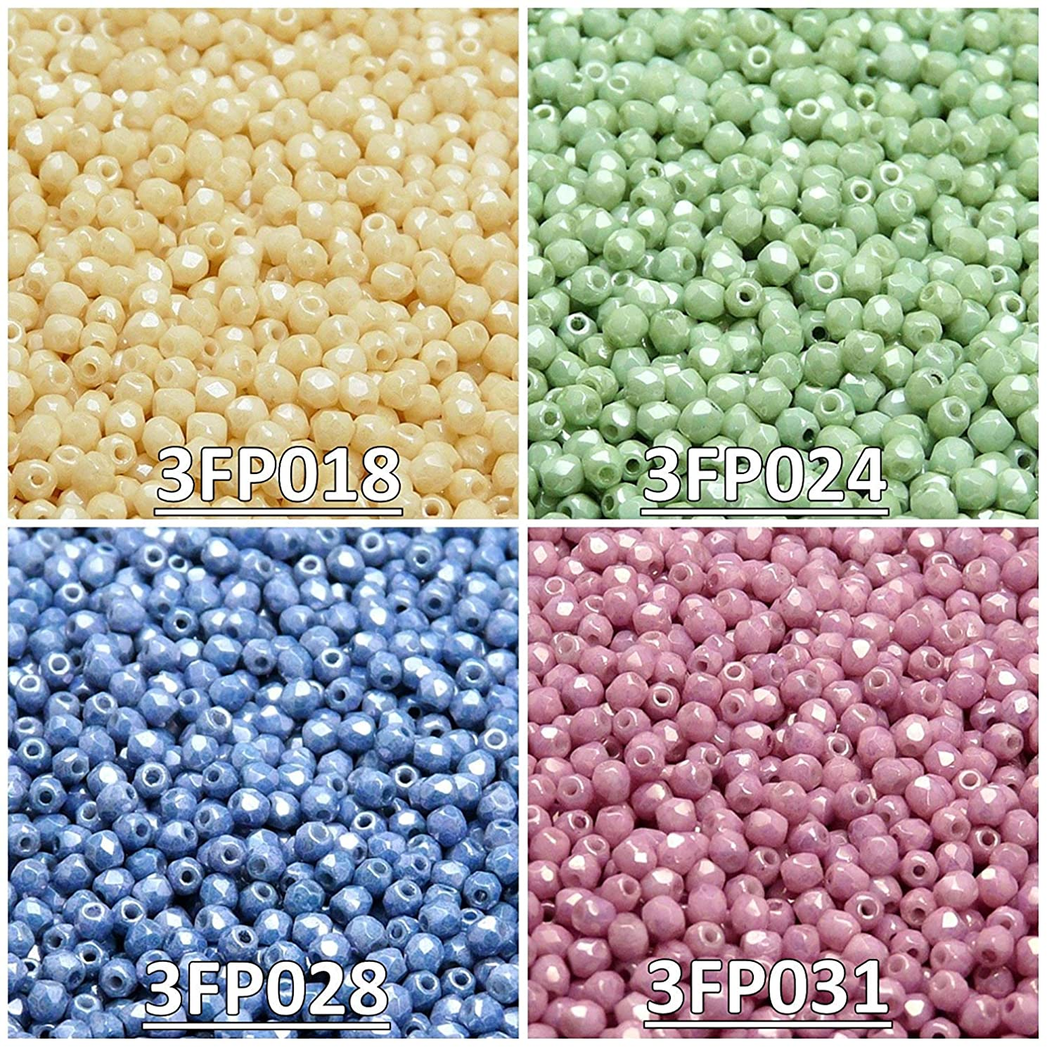 400 Beads 4 Colors Czech Fire-Polished Glass Beads Round 3 mm, Set 330 (3FP018 3FP024 3FP028 3FP031)