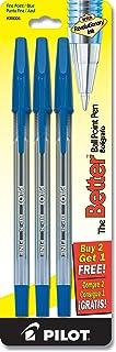 PILOT The Better Ball Point Pen Refillable Ballpoint Stick Pens, Fine Point, Blue Ink, 2-Pack + 1 Bonus (35006)