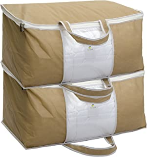 HomeStrap Underbed Storage Bag/Organizer/Blanket Cover with Front Handle (Pack of 2, Beige)