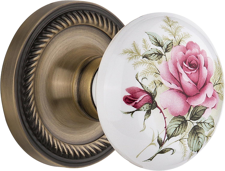 Nostalgic Warehouse Indefinitely Rope specialty shop Rosette with Rose Knob White Porcelain