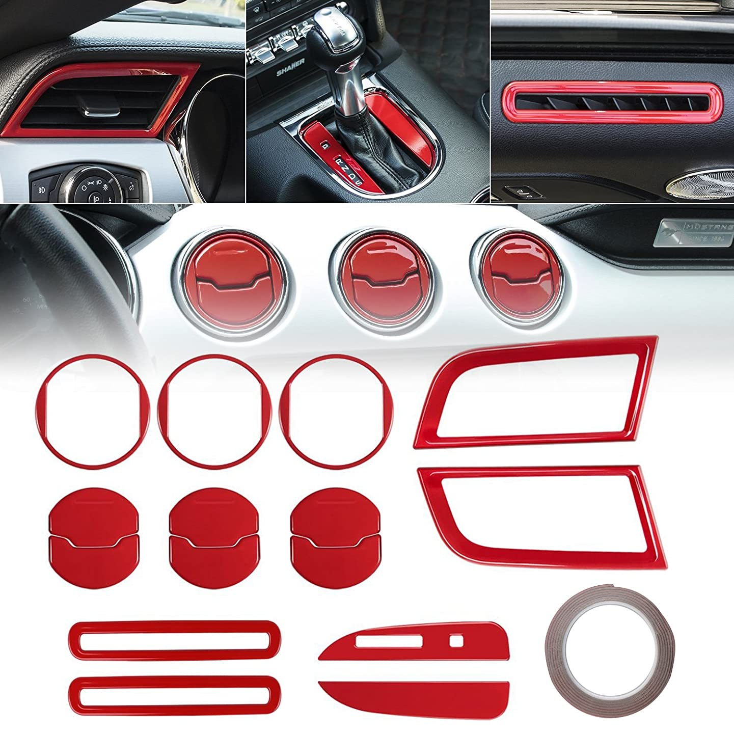 2015 2016 2017 2018 Ford Mustang Interior 15 PCS Accessories Decoration Set Console Central, Door, Dash Board Side Air Conditioner Outlet Vent, Chrome Shift Gear Box Switch Button Cover Trim (Red)