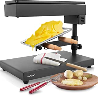 Electric Raclette Cheese Melter - Swiss Style Warmer Melts, Stainless Steel, Stain Resistant, Adjustable Temperature Control, Food Prep 120V / 600 Watt- NutriChef PKCHMT17